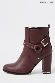 River Island Red Dark Harness Posh Boots
