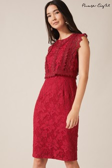 Phase Eight Red Alex Lace Double Layer Dress