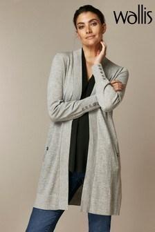 Wallis Grey Wool Longline Cardigan