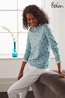 Boden Blue Holly Jersey Sweatshirt