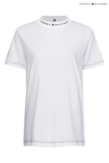 Tommy Hilfiger White Logo Mock Neck T-Shirt