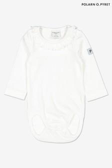 Polarn O. Pyret White GOTS Organic Frill Collar Bodysuit