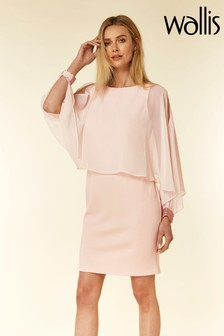 Wallis Pink Embellished Cuff Overlayer Dress