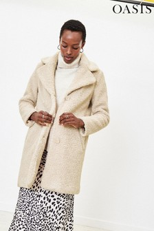 Oasis White Button Cosy Coat