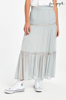 Free People Blue Ella Tiered Midi Skirt