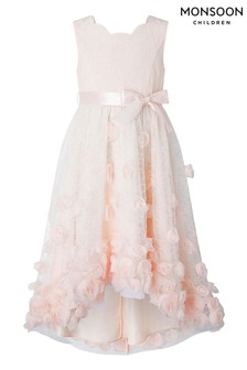 Monsoon Emily Lace Hi Low 3D Peach Dress