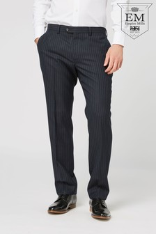 British Wool Striped Tailored Fit Suit: Trousers