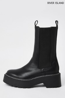 River Island Black Clean Chunky Boots