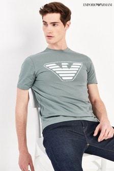 Emporio Armani Washed Teal Eagle T-Shirt