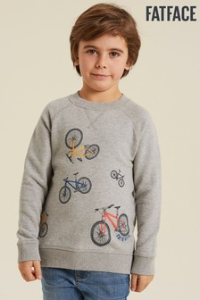 FatFace Grey Graphic Crew Neck Sweater