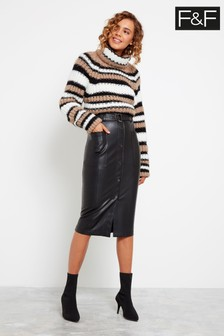 F&F Black Popper Front PU Pencil Skirt