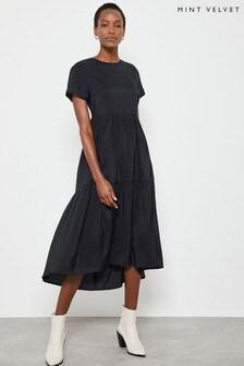 Mint Velvet Black Midi Trapeze Dress