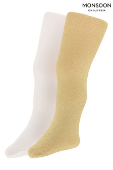 Monsoon Children Gold Baby Sparkly Nylon Tights Two Pack