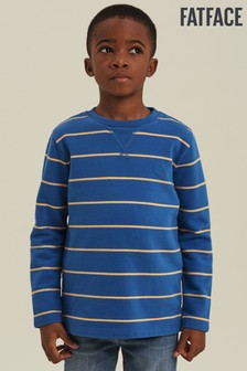 FatFace Blue Fine Stripe Crew Neck Sweater