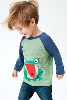 Interaktywna koszulka z długim rękawem, żabą i zamkiem (3m-cy-7lata)