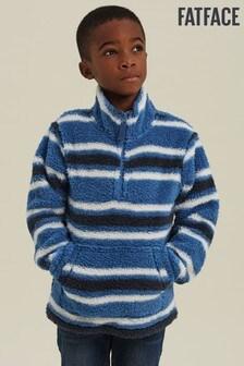 FatFace Blue Half Neck Fleece Sweater