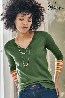 Boden Green Cassandra V-Neck Jumper