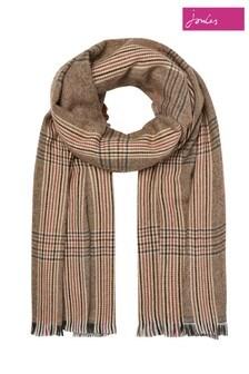 Joules Brown Fearne Tweed Look Scarf