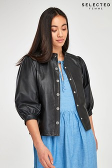 Selected Femme Black Leather Milla Shirt Jacket