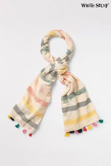 White Stuff Cream Woven Dash Stripe Scarf