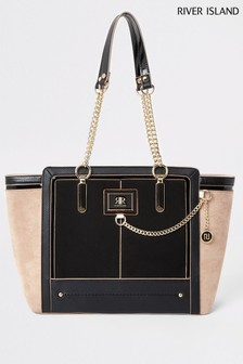 River Island Black Eylet Winged Tote Bag