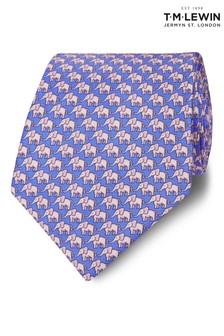 T.M. Lewin Wide Blue And Pink Elephant Silk Tie