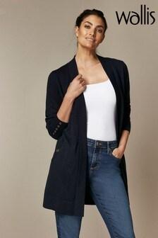 Wallis Navy Wool Longline Cardigan