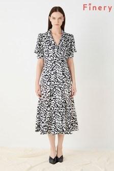 Finery London Black Elizabeth Satin Wrap Dress