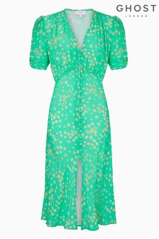 Ghost London Green Flo Lillie Daisy Print Crepe Dress