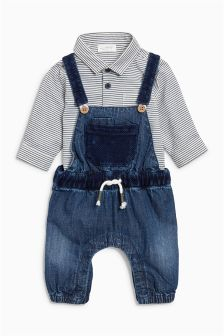 条纹衬衫连体衣 (0个月-2岁)
