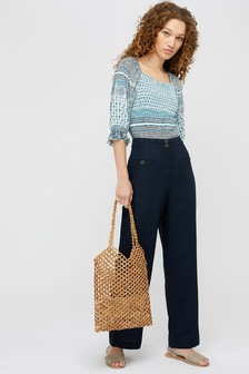 Monsoon Blue Charlotte Short Length Linen Trousers