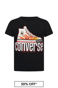 Converse Boys Black Cotton T-Shirt