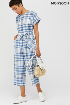 Monsoon Ivory Oria Check Crop Jumpsuit