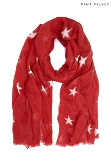 Mint Velvet Red Double Star Print Scarf