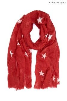 Mint Velvet Red Double Star Print Scarf