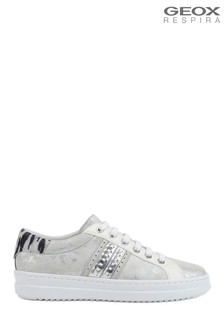 Geox Womens Pontoise Silver Trainers