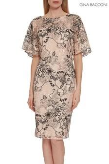 Gina Bacconi Pink Lyska Embroidered Dress