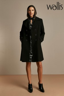 Wallis Black Gold Button Military Coat