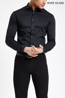 River Island Black Long Sleeved Muscle Fit Shirt