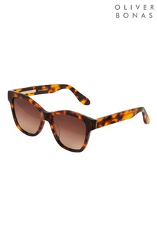 Oliver Bonas Brown Havana Tortoiseshell Effect Square Acetate Sunglasses