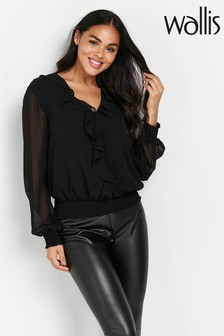 Wallis Shirred Hem Ruffle Top