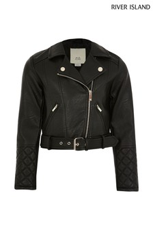 River Island Black Belted Biker Jacket