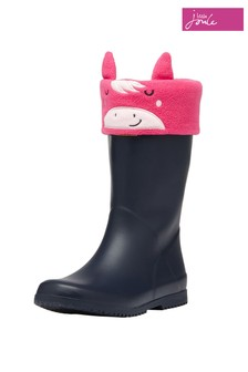 Joules Pink Smile Fleece Welly Socks