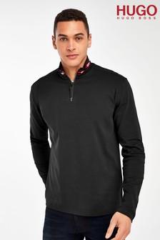 HUGO Black Doder 1/4 Zip Long Sleeve T-Shirt