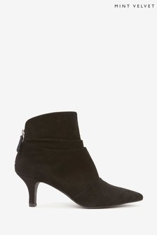 Mint Velvet Julie Black Kitten Heel Boots