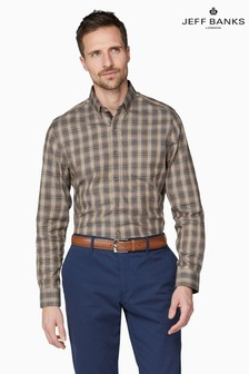 Jeff Banks Brown Brushed Check Tailored Fit Casual Shirt