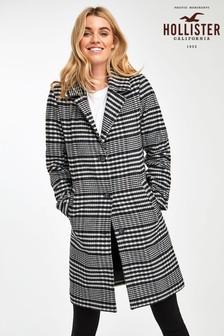 Hollister Black Plaid Wool Coat