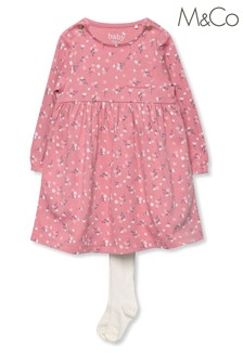 M&Co Pink Flower Dress With Tights