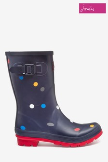 Joules Navy Blue Molly Mid Height Printed Welly
