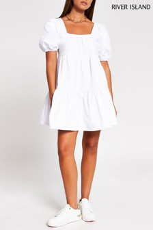 River Island White Smock Tiered Dress